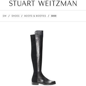NWT Stuart Weitzman 5050 Black Nappa Boots